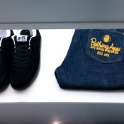 Branded jeans and sneakers at A Bathing Ape in Tokyo. Photo by alphacityguides.