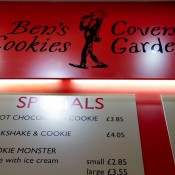 Menu at Ben's Cookies in London. Photo by alphacityguides.