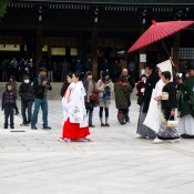 Japanese wedding procession at the Meiji Shrine in Tokyo. Photo by alphacityguides.