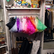 Vintage tutu display inside G2? in Tokyo. Photo by alphacityguides.