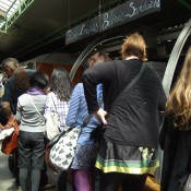 Line for Alain's crepes at the Marché des Enfants Rouges in Paris. Photo by alphacityguides.