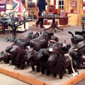 Leather toy animals at Fortnum and Mason in London. Photo by alphacityguides.