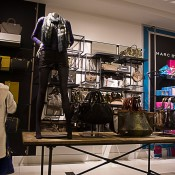 Streetwear and accessories display at Bloomingdale's in New York. Photo by alphacityguides.