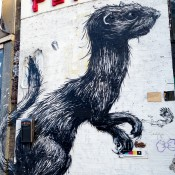 Artist Roa's large realistic animals in London. Photo by alphacityguides.