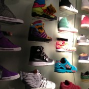Sneaker wall at Offspring in London. Photo by alphacityguides.