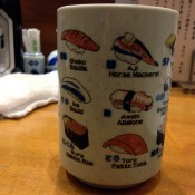 Sushi cup at Nihonkai Asakusa in Tokyo. Photo by alphacityguides.