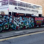 Alternative London Bus that does city street art tours. Photo by alphacityguides.