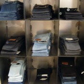 Denim display at French Trotters in Paris. Photo by alphacityguides.