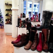 Shoe & boot display at Fly London in Covent Garden. Photo by alphacityguides.