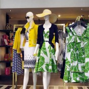 Colorful spring fashion display at Kate Spade in New York. Photo by alphacityguides.
