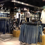 Street fashion and denim display at Topshop in London. Photo by alphacityguides.