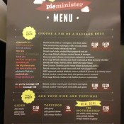 Take-out menu at Pieminister in London. Photo by alphacityguides.