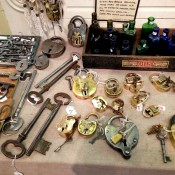 Vintage key display at Chole Alberry in the Portobello Market in London. Photo by alphacityguides.