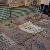 Coffee sacks at Brick Lane in London. Photo by alphacityguides.