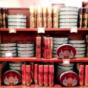 Biscuits and chocolates at Fortnum and Mason in London. Photo by alphacityguides.