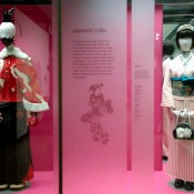 Japanese Lolita costumes from a Japanese street fashion exhibit at the V&A museum in London.