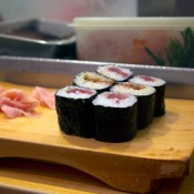 Sushi rolls at Daiwa Sushi in Tokyo. Photo by alphacityguides.