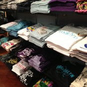 T-shirt table display at Brooklyn Industries in New York. Photo by alphacityguides.